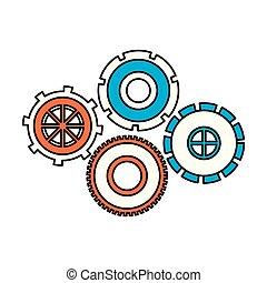 roda, jogo, silueta, cor, dente, pinions, seções, ícone