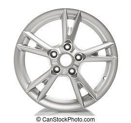 roda, liga, branca, isolado, alumínio