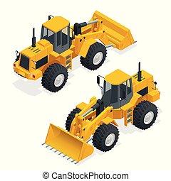 roda, máquina, escavadora, carregando, shovel., isometric, construção, isolado, trator amarelo, carregador, equipamento, loader., machine., vetorial, ilustração, frente, pesado, white.