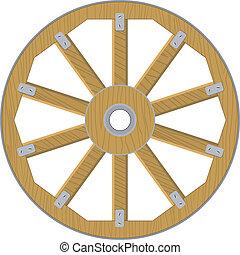 roda, madeira, imagem, vetorial