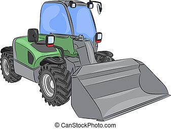 roda, mini, escavadora, vetorial
