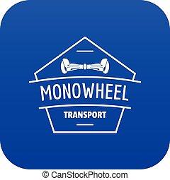 roda, mono, azul, vetorial, ícone