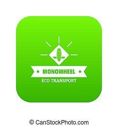 roda, mono, estilo vida, verde, ícone