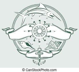 roda, navio, crista