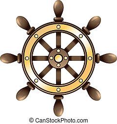 roda, navio, guiando