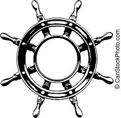 roda, navio, guiando, (vector)