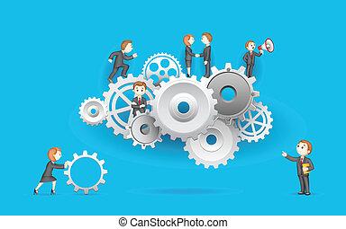 roda, negócio, dente, pessoas