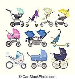 roda, ou, jogo, punho, crianças, baby-stroller, infantil, buggy, isolado, ilustração, carrinho criança, recem nascido, carruagem, baby-buggy, vetorial, fundo, branca, pram, crianças