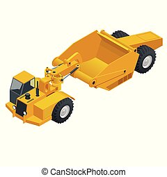 roda, pesado, isometric, usado, transportador, tractor-scraper, earthmoving., tractor-scraper., material, raspador, equipamento, vanguarda, hopper., move-se, cinto