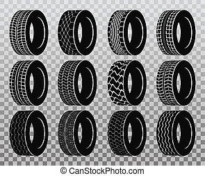 roda, pneu, automóvel, isolado, ou, caminhão, autocarro, tyre.