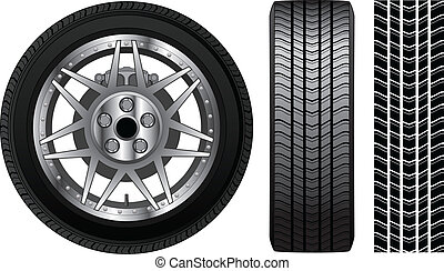 roda, -, pneu, e, borda, com, freios