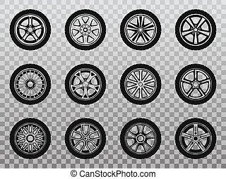 roda, pneu, isolado, cobrança, icons., pneumático
