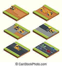 roda, reparar, isometric, conceito, asphalt., asfalto, escavadora, forklifts, escavador, deitando, paver, trator, tractor-scraper, truck., transporte