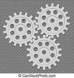 roda, roda dentada, set., vetorial, dente, engrenagem