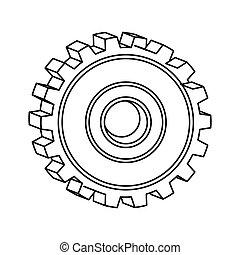 roda, silueta, engrenagem, ícone