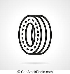 roda, skateboard, vetorial, pretas, desenho, linha, ícone