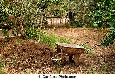 roda, solo, carrinho mão, montão, logo