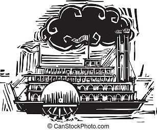 roda, steamboat, lado, woodcut