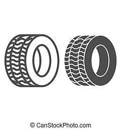 roda, teia, estilo, icon., 10., esboço, pneu, automóvel, isolado, ilustração, eps, app., white., vetorial, projetado, pneumático, car, linha, desenho, glyph