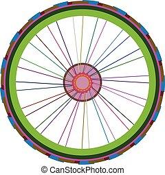 roda, vetorial, bicicleta, isolado, bicicleta, branca, rodas