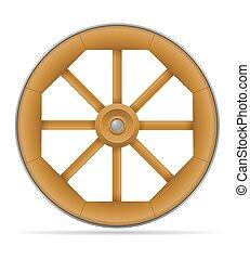 roda, vetorial, carreta, ilustração, cavalo madeira