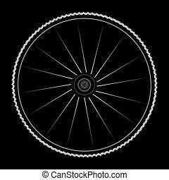 roda, vetorial, -, ilustração, bicicleta, pretas