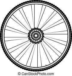 roda, vetorial, -, isolado, ilustração, bicicleta, fundo, branca