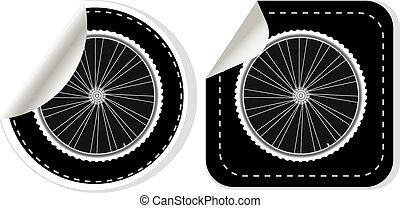 roda, vetorial, jogo, adesivo, bicicleta, branca