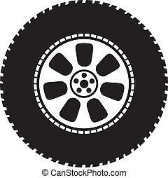 roda, vetorial, -, pneumático