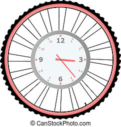 roda, vetorial, relógio, isolado, bicicleta, branca
