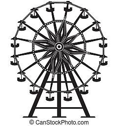 roda, vetorial, silueta, ferris
