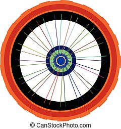 roda, vetorial, silueta, isolado, bicicleta, raios, pneumático, branca