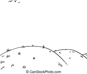 rodante, bosquejo, colinas, plano de fondo, contorno