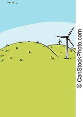 rodante, copia, colinas verdes, espacio