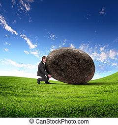 rodante, hombre de negocios, gigante, piedra