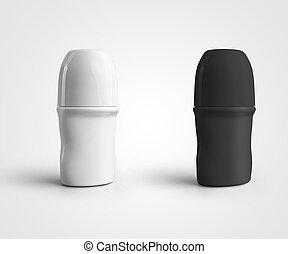 rodar-en, blanco, deodirant, fondo., negro, plástico, aislado, plantilla