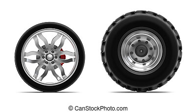 rodas, branca, isolado
