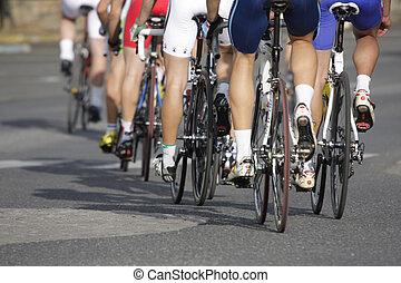 rodas, durante, um, ciclismo, raça