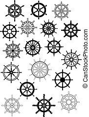 rodas, estilo, guiando, navio, retro