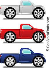 rodas grandes, pickup, caricatura