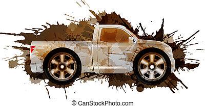rodas grandes, pickup, sujo