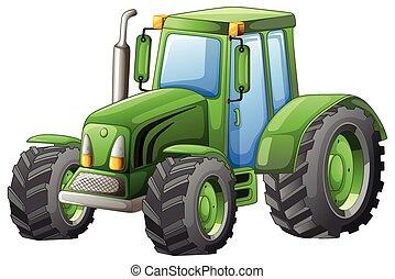 rodas grandes, verde, trator