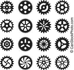rodas, vetorial, engrenagem, ícones
