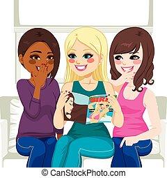 roddel, magazine, lezende , mode, vrouwen