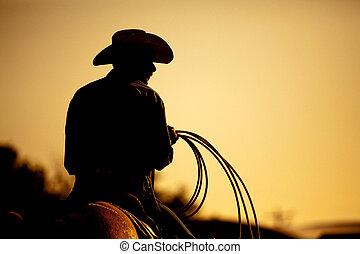 rodeó, cowboy, árnykép