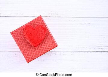 rode achtergrond, hart, dag, witte , valentines, houten, cadeau, decoreren, doosje