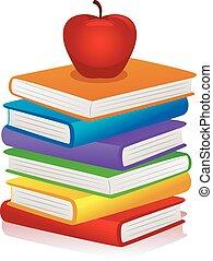 rode appel, op, stapel boeken