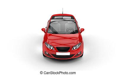 rode auto, bovenzijde, vooraanzicht