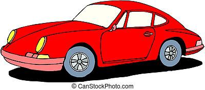 rode auto, op, vrijstaand, achtergrond