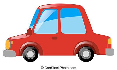 rode auto, op wit, achtergrond